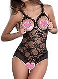 ALLureLove Women's Open Cup Crotchless One-piece Teddy Bodysuit Sexy Lingerie Lace Nightie (Black,L)