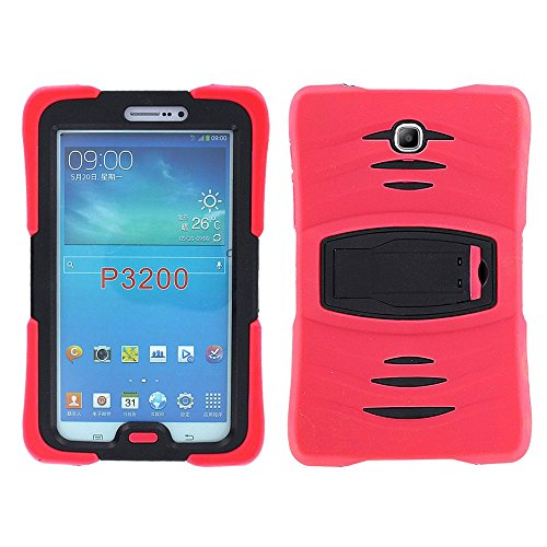 Samsung Galaxy Tab 3 7.0 Case by KIQ TM Full-body Shock Proof Hybrid Heavy Duty Armor Protective Case for Samsung Galaxy Tab 3 7.0 P3200 with Kickstand and Screen Protector (Armor Red)