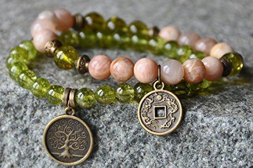 Abundance,Money Bracelet,Sunstone, Peridot,Lucky Mala Gemstone Bracelet,Chakra Bracelet,Healing