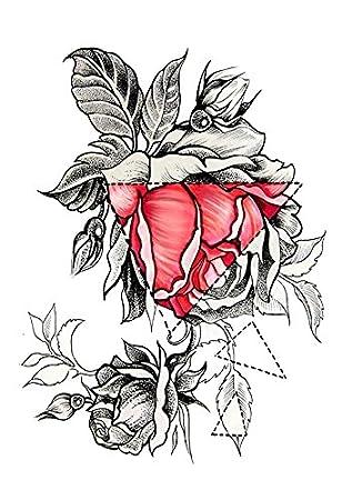 Rosas tatuaje Negro y Rojo Fake Tattoo KM 055 una vez Tattoo ...