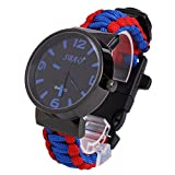 Beautyrain 6_in_1 Paracord Survival Bracelet Watch Survival Paracord Watch Bracelet with Flint Compass Whistle Fire_Starter Scraper for Hiking Travel Outdoor Multifuctional Tool