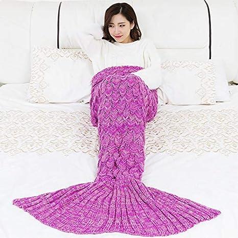 Mjia Sleeping bag Saco de Dormir para bebés,Manta de Cola de Sirena, Punto Suave, Mejor Regalo de cumpleaños , Rosa roja , 90 * 55cm: Amazon.es: Hogar