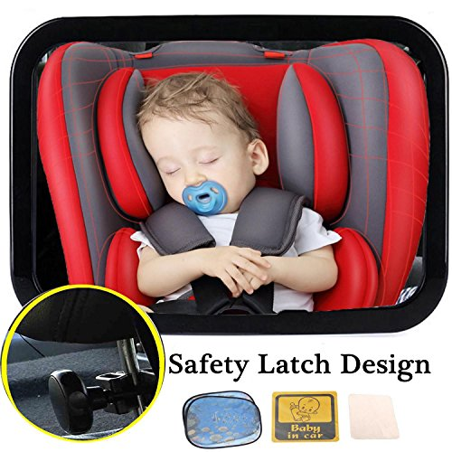 """Dr.Roc Baby Car Mirror Rear Facing Car Seat Mirror For Baby Safe Easily Install & Remove 100% Safety Adjustable (2Sunshade & 1Soft Cleaning Cloth & 1Baby on board"""" Sign Sticker)"""