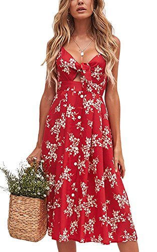Women Floral V Neck Tie Knot Front Button Party Casual Spaghetti Strap Dresses (Red,XL)