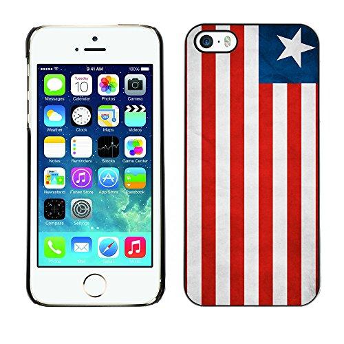 Omega Case PC Polycarbonate Cas Coque Drapeau - Apple iPhone 5 / 5S ( Liberia Grunge Flag )