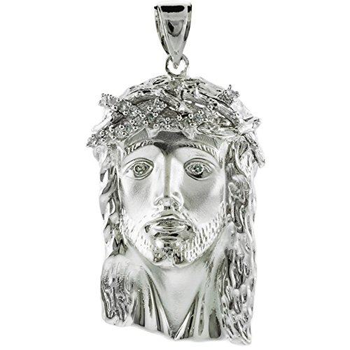 Religious Jewelry by FDJ 925 Sterling Silver Iced-out CZ Jesus Face Pendant