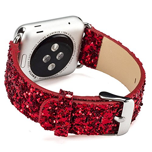 iiteeology Compatible with Apple Watch Band 38mm 40mm 42mm 44mm, Christmas Sparkly 3D Glitter Bling Leather iWatch Band for Apple Watch Series 4/3/2/1 Women Girls (Red, 38mm)