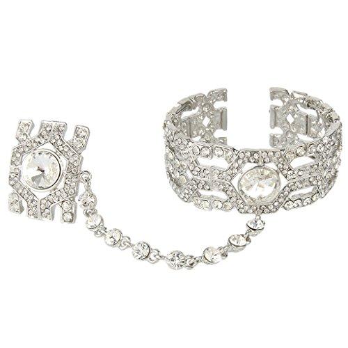 EVER FAITH® Gatsby Style Inspired Bracelet Adjustable Ring Set Austrian Crystal Clear