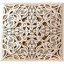 Wishmade 50pcs Ivory Square Laser Cut Wedding Invitations Cards Kit for Marriage Engagement Birthday Bridal Shower with Envelopes Seals Party Favors (Set of 50pcs)