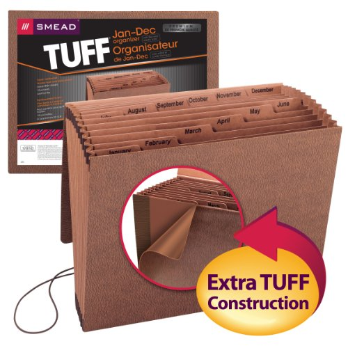 Smead TUFF Expanding File,  12 Pockets, Monthly (Jan.-Dec.), Flap and Cord Closure, Letter Size, Redrope -