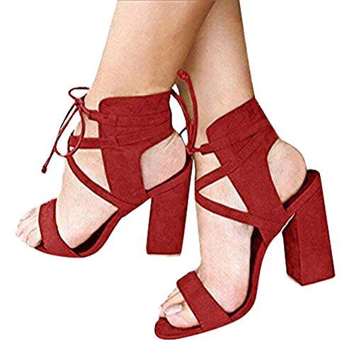 Casuale Estate Moda Beach Scarpe Partito Peep Donna Tacco Shoes Minetom Blocco Eleganti Sandali Sandals Toe A Rosso Zv5cwq