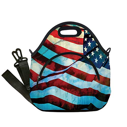(Insulated Lunch Bag,Neoprene Lunch Tote Bags,American Flag Decor,American Flag in the Wind on Flagpole Memorial Patriot History Image,Blue Red,for Adults and children)
