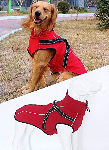 Mihqy Dog Jacket with Harness – Warm and Cozy Reflective Dog Winter Coat Sport Vest – Windproof Snowsuit Apparel with…