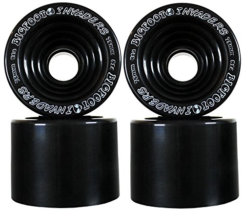 Bigfoot 81A Invaders Offset Downhill/Freeride Longboard Wheels, Black, 75mm