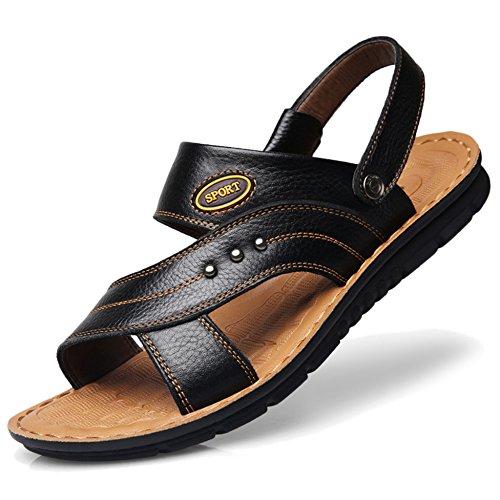 Verano Más De 37 Hombres Zapatos Los Cuero 47 Abierta Chanclas De Sandalias Zapatillas Para Papá De Real Punta Black1 De Playa Cuero Tamaño xITwSqq