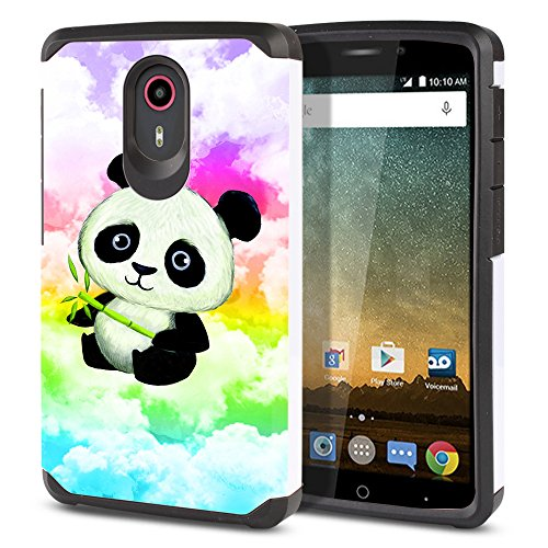 Case Protector Cover Skin Hard (FINCIBO Quest Uhura Case, Dual Layer Hard Back Hybrid Protector Cover Anti Shock TPU Skin For ZTE N817 Quest Uhura - Baby Panda (Style 2))