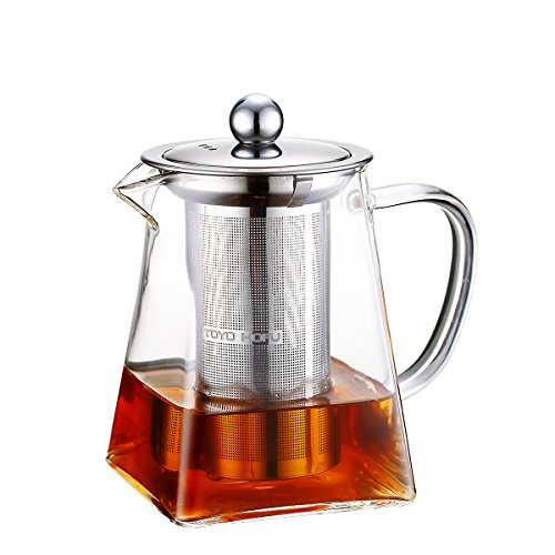 Toyo Hofu Small Teapot, Clear High Borosilicate Glass Tea Pot with Removable 304 Stainless Steel Infuser, Heat Resistant Loose Leaf Teapot,Stovetop Safe, 600 ml/20 Ounce. (Microwave Glass Teapot)