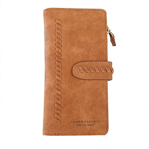 (TJEtrade Wallet for Women slim billfold Large Capacity clutch Card Holder Tassel (Suede Brown))