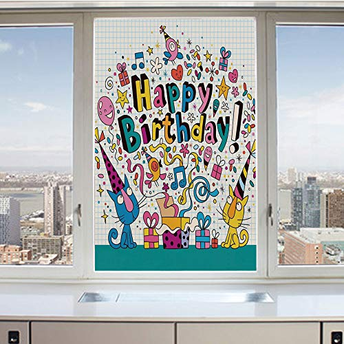 (3D Decorative Privacy Window Films,Math Note Pad Inspired Cartoon Animals Cats Present Image,No-Glue Self Static Cling Glass Film for Home Bedroom Bathroom Kitchen Office 24x36 Inch)