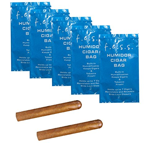5 Pack FESS Products Travel Pouch Cigar Bag Ziplock Humidor Humidifier ()