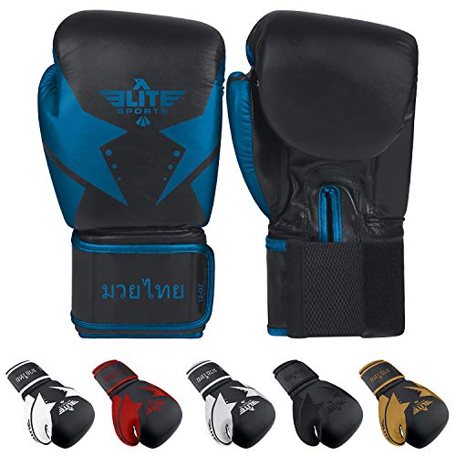 Elite Sports Muay Thai Star Gloves (Blue, 16 oz) ()