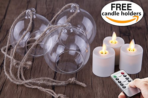 Set of 3 Remote Indoor Glass Lanterns with LED Flameless Votives Candle, Tree Lights,Hanging Decorative Candle Lanterns,Christmas (Christmas Tree Lantern)