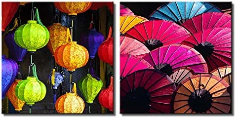 Two Piece Colorful Japanese Lanterns and Umbrellas with Designs on Them on 2 Panels