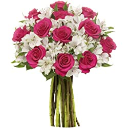 Benchmark Bouquets Signature Roses and Alstroemeria, No Vase for Valentine's Day