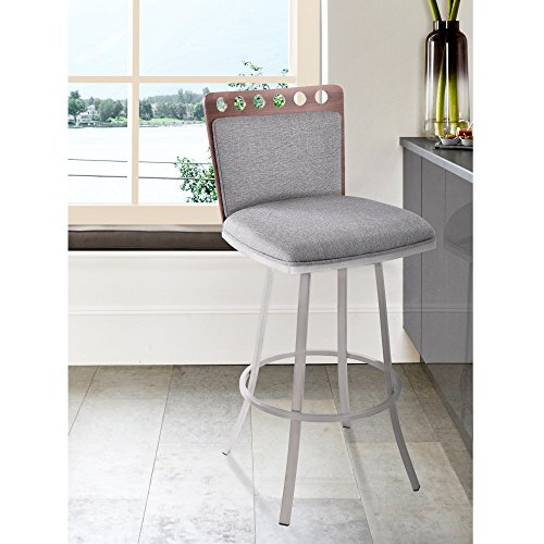 """Armen Living LCCOBAGRF26 Coco 26"""" Counter Height Swivel Barstool in Grey Fabric, Walnut Wood and Brushed Stainless Steel Finish"""