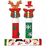 OUGAR8 Adorable Snowman Refrigerator Handle Covers Set | Cute &Practical Fridge Door Covers| Protective Kitchen Appliance Covers |Perfect Christmas Decorations Idea (3 Packs)