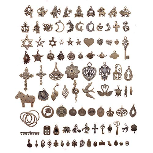 SIX VANKA 100pcs Vintage Skeleton Charms Set Necklace Bracelets Pendants Anti-Brass Fashion Jewelry DIY Making Supplies Wedding ()
