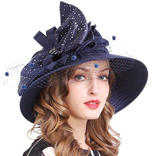 VECRY Women's Dressy Church Baptism Wedding Derby Hat (Mesh-Navy)