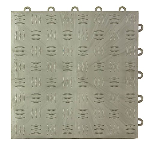Greatmats Garage Floor Tile Diamond Top 1 ft x 1 ft 24 Pack Metallic 10 X 24 Coin Pattern
