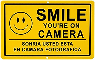 "1 Pc Acceptable Modern Smile You're on Camera Yard Signs Being Watched Surveillance Premises Monitored Size 11"" x 7"" Yellow Spanish"