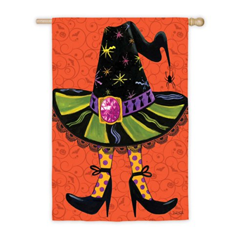 Witches Hat With Glitter Jewel Halloween House Flag