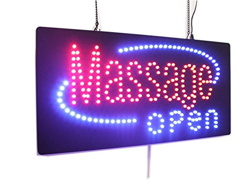 Massage Open Sign, Super Bright High Quality LED Open Sign, Store Sign, Business Sign, Windows Sign by Topking LED