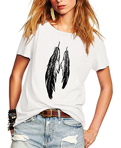 Romastory Womens Street Style Feather Pattern T-Shirts Casual Loose Top Tee Shirts (XL, White)