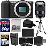 Sony Alpha A5100 Wi-Fi Digital Camera Body (Black) with 18-200mm LE Zoom Lens + 64GB Card + Case + Battery & Charger + Tripod + Kit