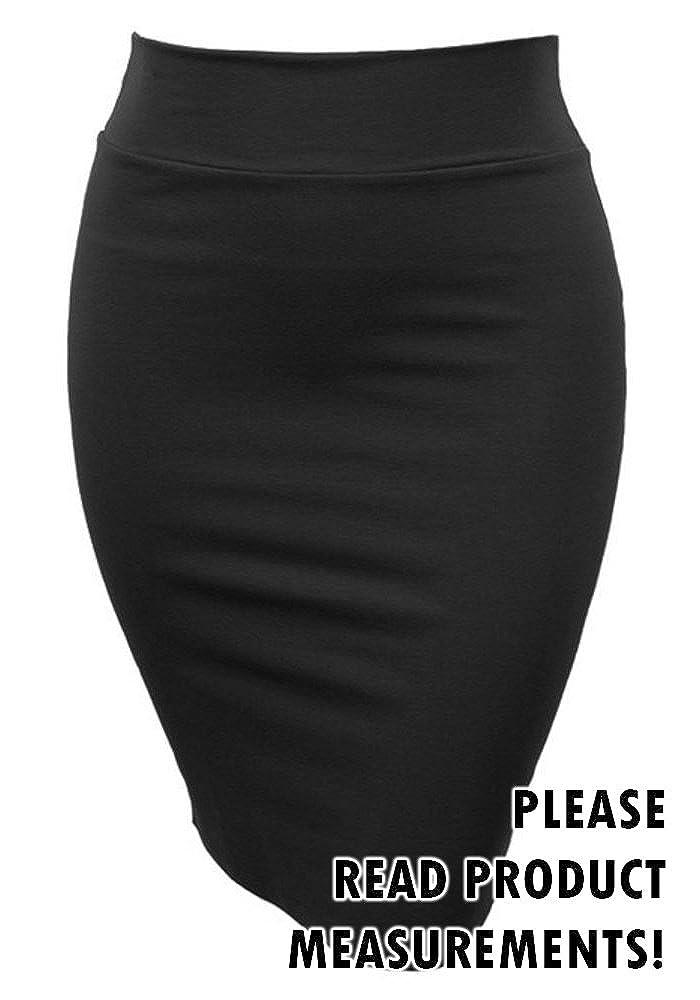 Women's Plus Size Classic Knee Length Stretch Pencil Skirt Business Casual Black) CS2523
