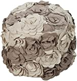 Surya Country & Floral Round pouf/ottoman 18''x18''x14'' in Gray Color From Surya Poufs Collection
