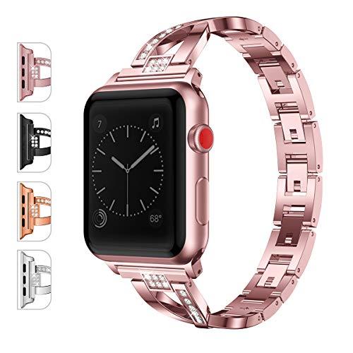 JOMOQ Metal Band Compatible Apple Watch 4 Band 38mm(40mm) 42mm(44mm) Women Girls Iwatch Series 3 2 8 Accessories Metal Bling Wristband Rhinestones Diamond Sport Strap