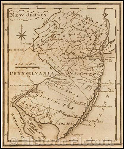 Historic Map | New Jersey, 1795, Joseph Scott | Vintage Wall Art 37in x 44in
