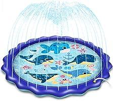 噴水マット プール,170CM直径ビニールプール 子供噴水おもちゃ ,アウトドア用 パドリングプール 家庭用プール 水遊び 親子遊び 芝生遊び 夏の日 誕生日プレゼント