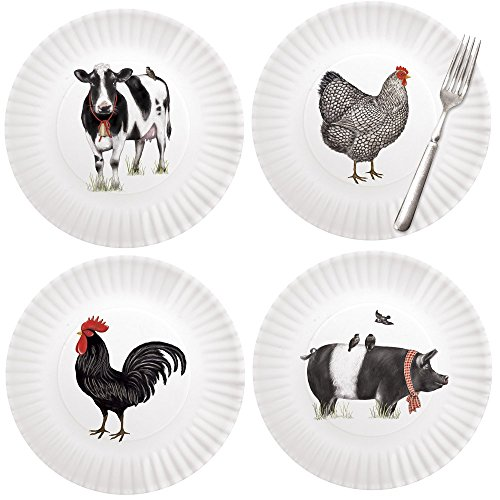 (Mary Lake-Thompson Farmhouse Animals 9-inch Melamine Plates, Set of 4)