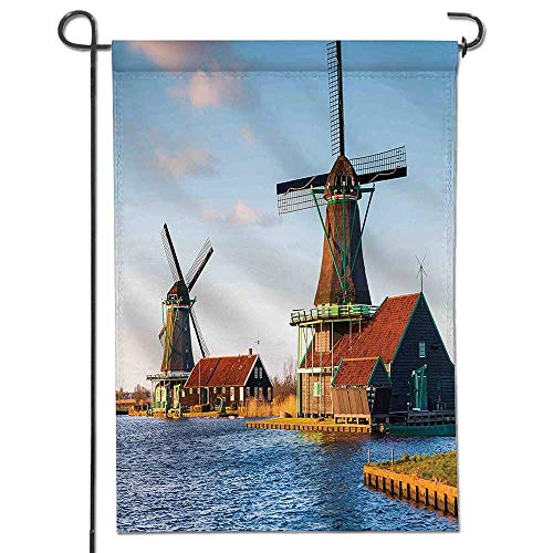 Mikihome Diploma Polyester Garden Flag Windmills on The Pond Harbor in Famous Netherlands Canal European Landmark Caramel Blue for Outdoor Home Garden Flower Pot Decor ()