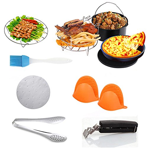 10 Pieces Air Fryer Accessories, Including Cake Barrel, Pizza Pan, Metal Holder, Skewer Rack and Silicone Mat for Gowise Phillips and Cozyna and More, Fit all 3.7QT - 5.3QT - 5.8QT