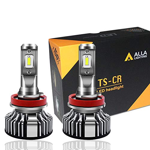 Alla Lighting 10000lm LED H11 Headlight Bulbs or Fog Lights Extremely Super Bright TS-CR H8 H9 H11 LED Headlight Bulbs or Fog Light Conversion Kits H11 Bulb, 6000K Xenon White (Set of 2) (Factory Hid Lights)