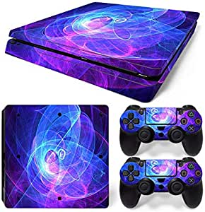Mcbazel Vinyl Decal Protective Skin Cover Sticker for PS4 Slim Console & Controller (NOT for PS4 or PS4 Pro) - Aura