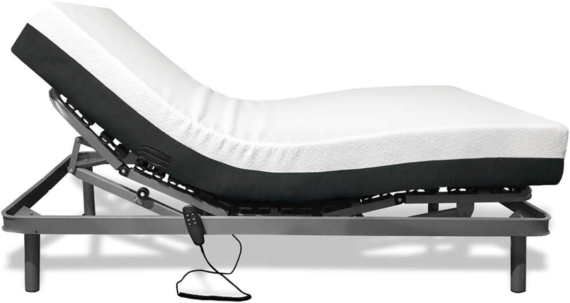 Duérmete Online - Somier Articulado Eléctrico Reforzado 5 Planos + Colchón Artimat Plus Viscoelástico, Gris, 90x190