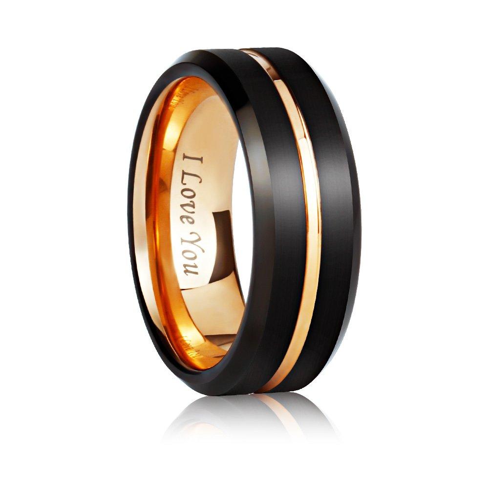 Angel King 8mm Tungsten Carbide Wedding Ring Engagement band for Men Women-Black Matte Brushed Finished Comfort Fit